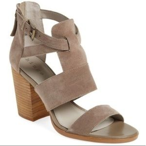 Hinge Block Heel Sandal in grey suede